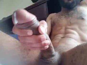 Bearded Ebony Man Close Up Cum